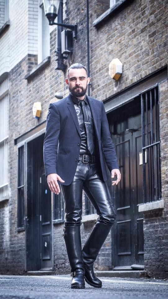 """Friday's dress down day at the office, in'it?""  #LeatherAlterEgo"