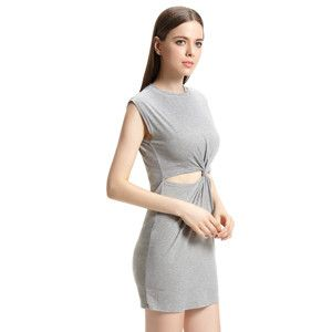 Summer New Arrival Empire Waist Mini O-Neck Sleeveless Hollow Out Solid Color Dresses Women Dress