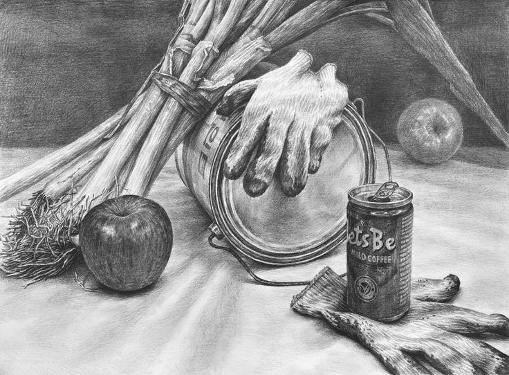 1. 스케치 2. 배경채색 및 기본톤   3. 양감 4. 묘사  5. 질감표현 및 마무리 대구, 정물화, 정물소묘, 정물입시, 서양화, 소묘 과정작, 드로잉, 대파, 목장갑, 정밀묘사, 사과묘사, 미술, 그림, 취미미술, 화실