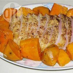 Carne de porco com alho e batata-doce na panela elétrica (slow cooker) @ allrecipes.com.br