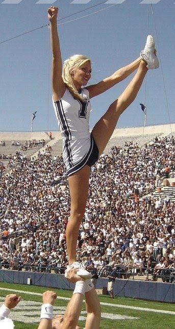 BYU cheerleader, cheerleading, cheer, football, stunt, heel stretch  from Kythoni's Cheerleading: Utah Schools: BYU, Utah, UVU, Weber, USU (Aggies, Utes, Cougars) board  http://pinterest.com/kythoni/cheerleading-utah-schools-byu-utah-uvu-weber-usu-a/  m.at.24.4