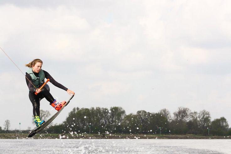 Wakeboarder Sanne Meijer showing off some tricks