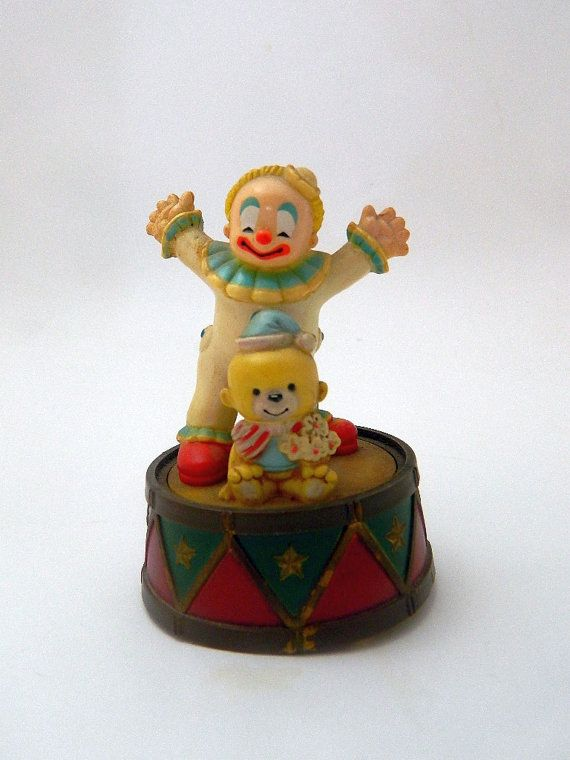Enesco Music Box Dancer  Clown and Bear  1984 by MemeresAttic