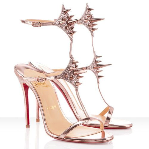 Cheap Christian Louboutin Lady Max 100mm Leather Strass Sandals Nude