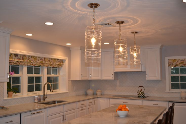 Juliska Pendant Lights Over Island