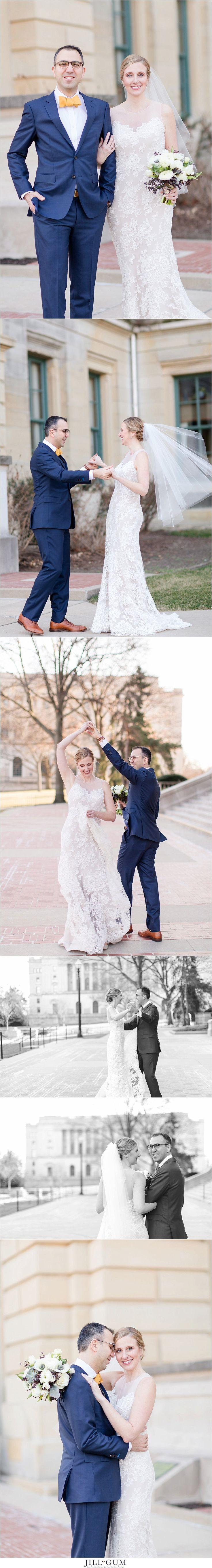 Jill Gum Photography | Wedding | Elegant | Bride & Groom | February Wedding | Wedding Bouquet | Anna Maier Wedding Gown | Lace Wedding Dress | Wedding Portraits | IL Natural Light Photographer | IL Wedding Photographer