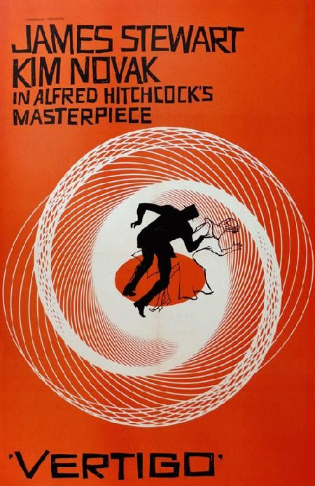 High quality reprinted movie poster for Vertigo starring James Stewart, Kim Novak and Barbara Bel Geddes and directed by Alfred Hitchcock from 1958. 11 x 17 high quality reproduction on card stock.