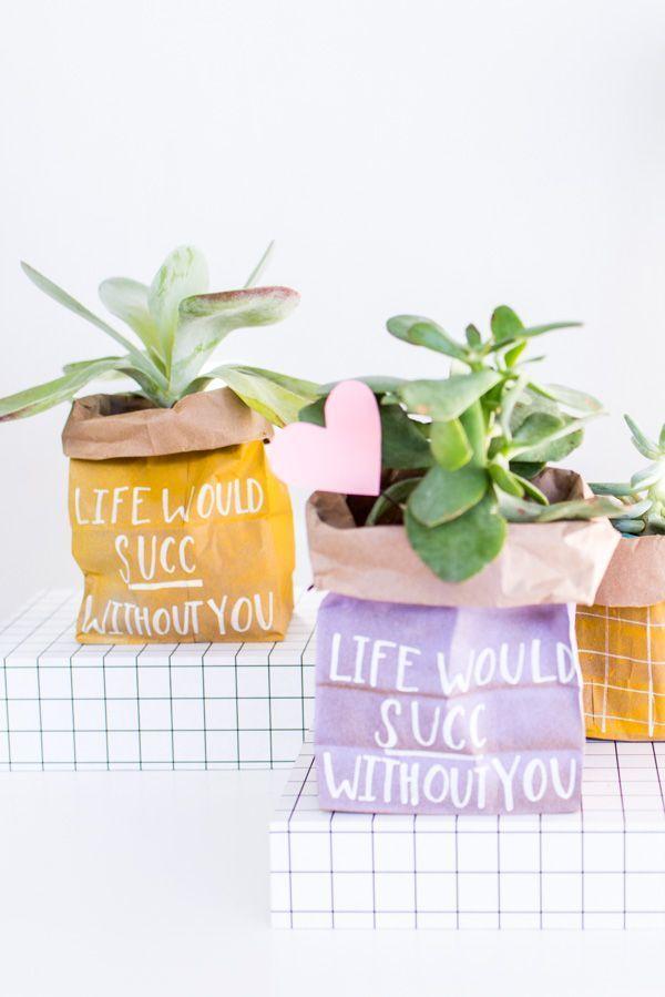 DIY Plantenzak met Valentijnstekst 'Life would succ without you'. Budgetproof én origineel! // via Paper n Stitch Blog #plants #plantlady #plantdiy #valentine