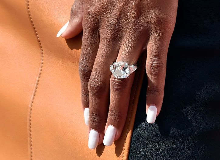 This is a close-up shot of Ciara's gorgeous new engagement ring from Russell Wilson. Click for info and more pictures of that massive diamond!