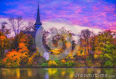 overfiltered fog in autumn landscape from Herastrau park