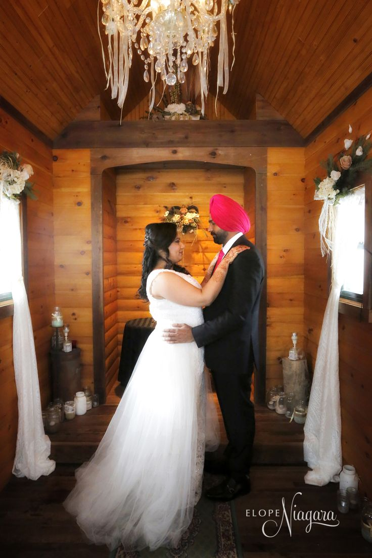 A gorgeous shade of pink inside our Little Log Wedding Chapel