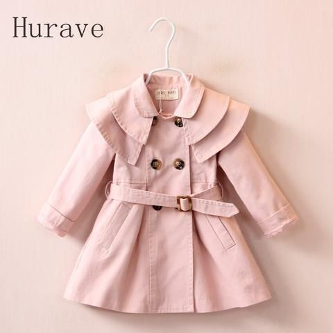 Hurave 2017 Winter New Ruffles Collar Fashion Girl Outfits Double-Breasted Belt Girls Coats Jackets Pink Khaki for 2-7 Years