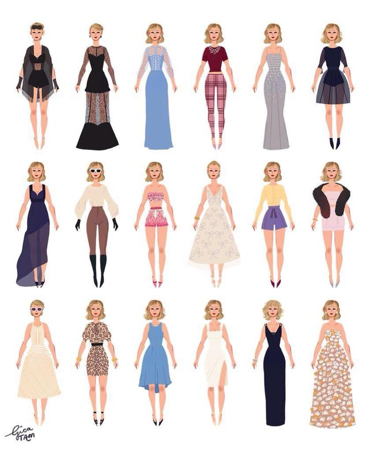 how cool is this! all of Taylor's outfits from #BlankSpace. (credits to whomever drew these.)