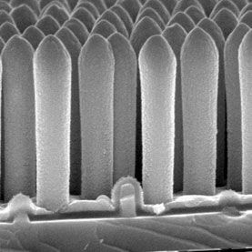 180 nanometers diametre, 1.5 micrometers tall.   Novel solar photovoltaic cells achieve record efficiency using nanoscale structures