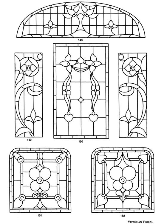 Victorian Stained  Glass Designs   Dover publications