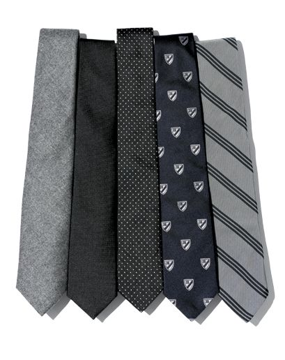 The Essential Can't-Go-Wrong Tie Wardrobe    Wool  In the middle of winter, you'll want a tie to pair with your heavier-weight suits.    Solid Black  For formalwear occasions, for a gray suit with a white shirt, or for a leather or jean jacket. Exceptionally versatile.    Pin-Dot  Like a polka-dot, but much smarter and more subtle.    Club  Any tie with a repeating logo. Once just for the Ivy League set, now for anyone with serious style.    Repp  Still a Capitol Hill staple, but now cut…