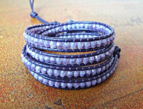 Bracciale donna glicine e ametista // Bracciale cuoio e mezzi cristalli // Idea regalo per lei // Bracciale Stile Chan Luu