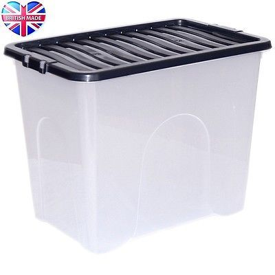 80l 80 #litre xx large plastic storage clear box #strong stackable #container  sc 1 st  Pinterest & 25+ unique Large plastic storage boxes ideas on Pinterest | Large ... Aboutintivar.Com
