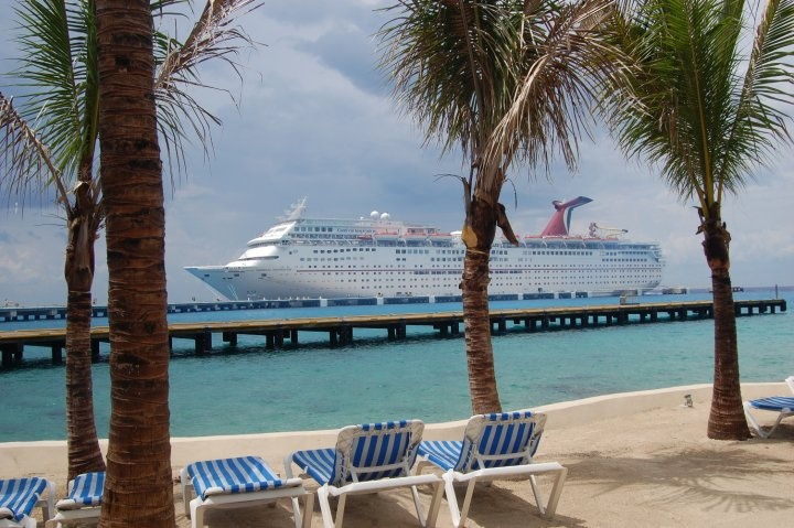 Cozumel Mexico Sitting On The Beach Looking At Our Ship