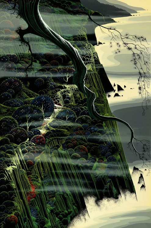 """© 2006 Eyvind Earle Publishing  Title:From Out of the Sea20"""" X 30""""  To Order  ----  Please Call    831-625-1738 or Email:    info@gallery21.com"""