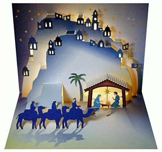 WE Pop Up 3D Karte Weihnachten Grußkarte Weihnachtskrippe drei heilige Könige 16x11cm