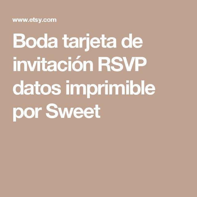 Boda tarjeta de invitación RSVP datos imprimible por Sweet