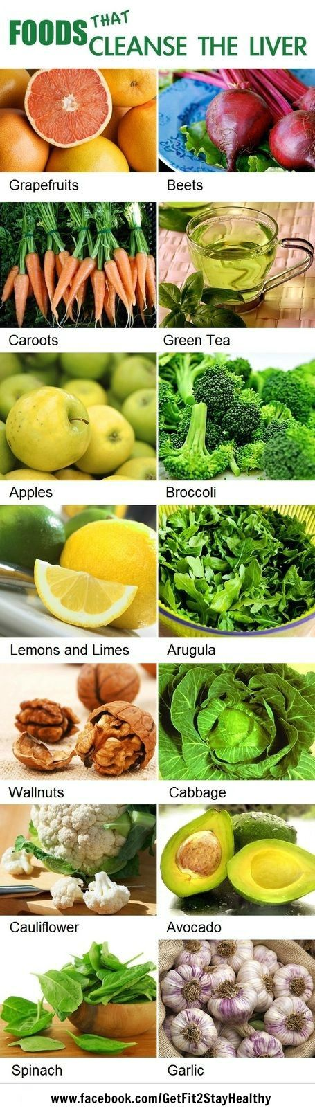 Foods that help to cleanse your liver. ~ Interested in a personal coach? Let's connect! Send an email to ginny.toll@gmail.com and let me know a little about your goals and lifestyle! We'll work together to pick the right program for you! #GetFit2StayHealthy #Motivation #HealthTips http://facebook.com/GetFit2StayHealthy