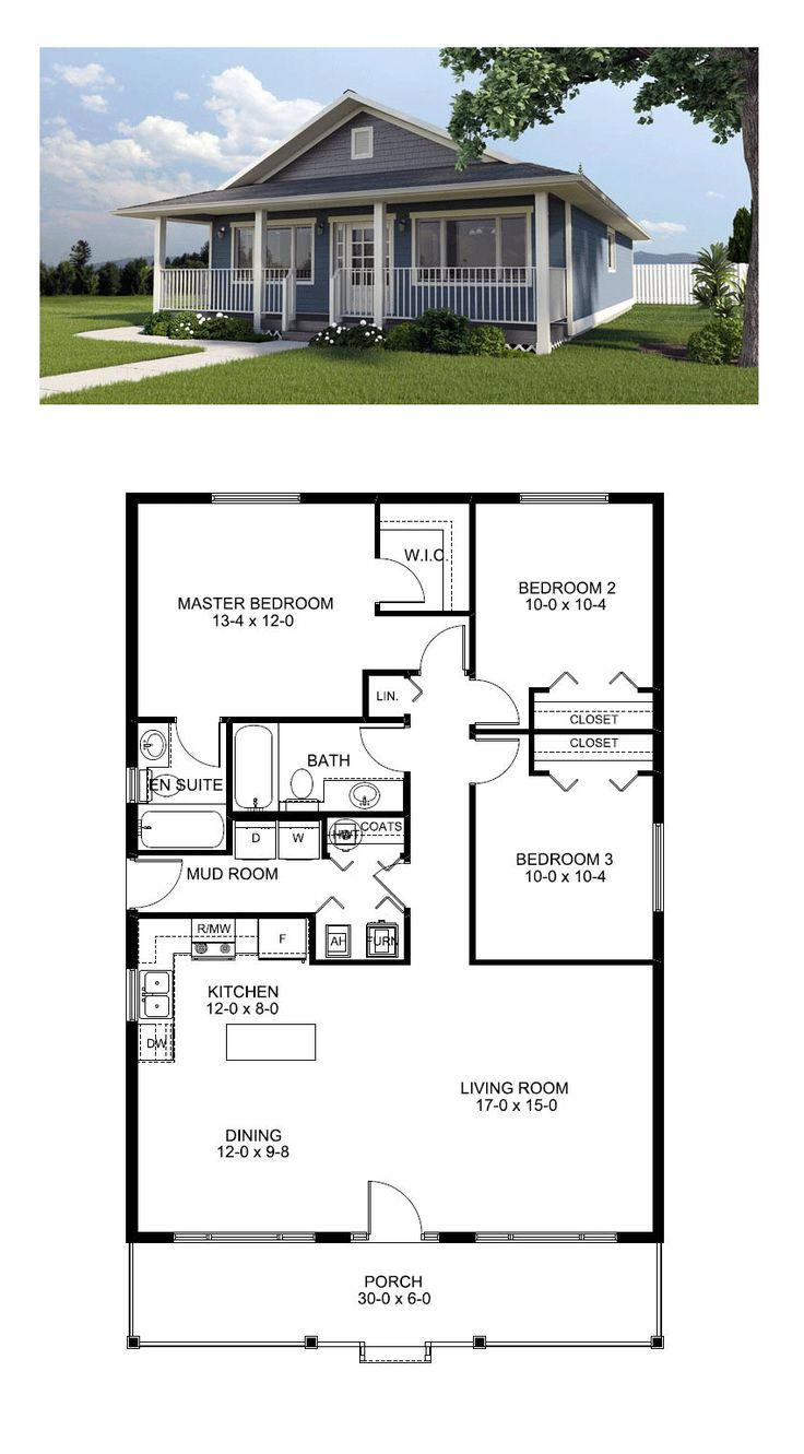 cool house plan id chp 46185 total living area 1260 sq ft - Small 3 Bedroom House Plans 2