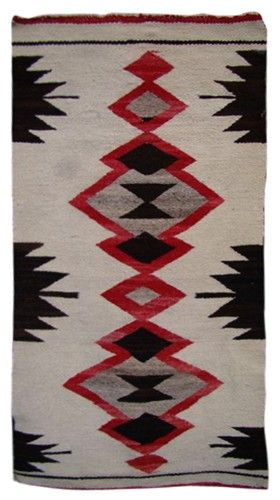 Navajo Rug in black and red circa 1920