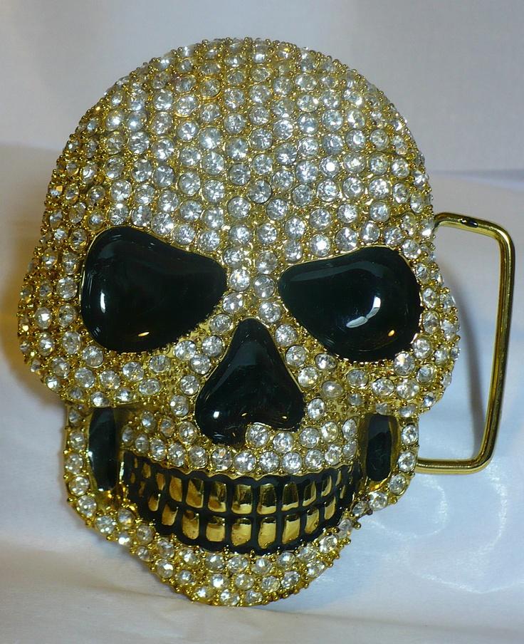 Last one only 4 days left!  Heavy Gold Skull Belt Buckle!