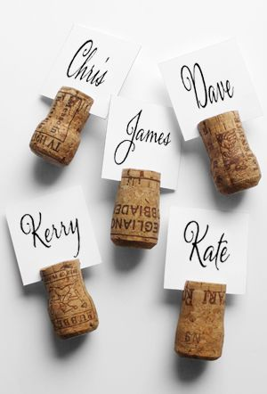 wine corks as card holders