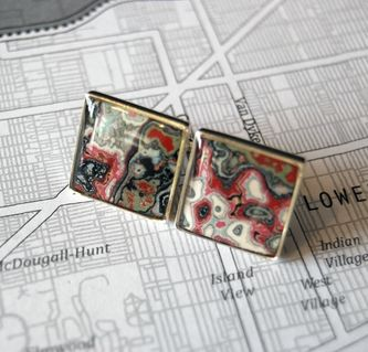 These earrings are the handmade product of collected re-purposed graffiti in Detroit! #unique #jewelry #handmade