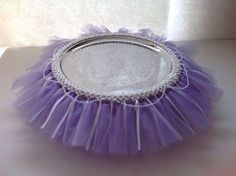 Tutu cake stand - Dollar Store serving platter with a tutu stretched around it. in pink or gray