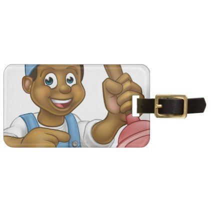#Black Plumber Handyman With Punger Cartoon Man Luggage Tag - #travel #accessories