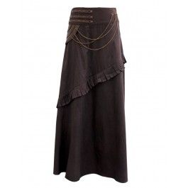 EW-110 - Brown Steampunk Skirt with Pleats and Chain Detail - MADE TO ORDER