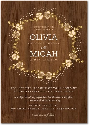 Retro Wreath Wedding Invitations