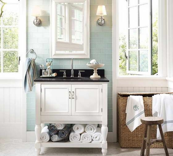 Bathroom - white & black & blue