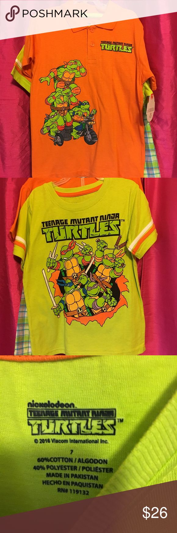 NWT BOYS 3PC SET NINJA TURTLES BY NICKELODEON This is a boys three piece set comes with shorts tonight stops by Nickelodeon and it's ninja turtles bright colors neon orange neon yellow in a boys size 7 and the shorts are elastic so they will fit smaller or bigger Nickelodeon Matching Sets