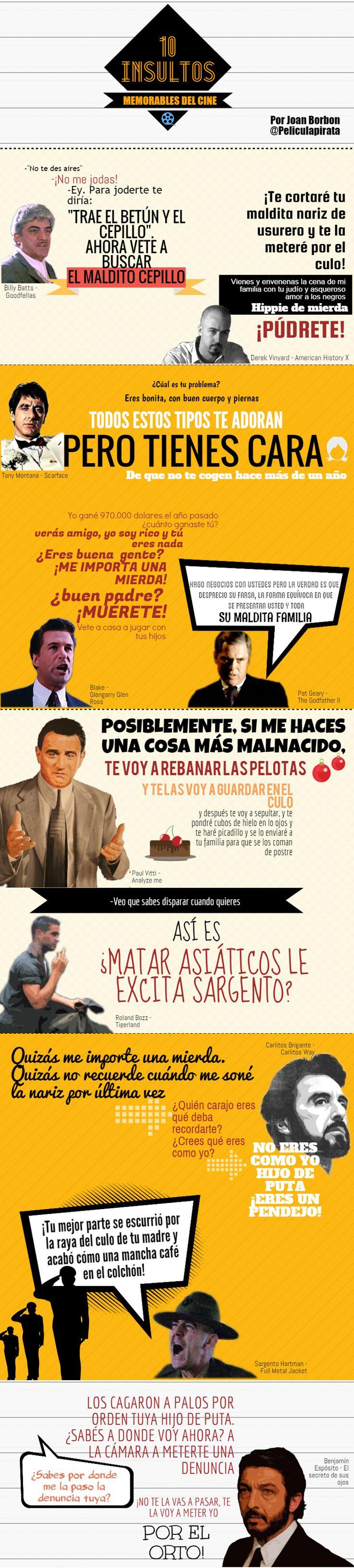 Infografía de insultos del cine. Frases de cine. Robert De Niro, Al Pacino y Edward Norton