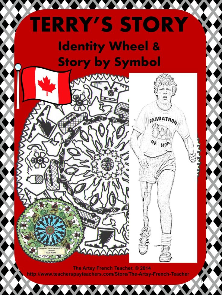 Terry's Story - Identity Wheel & Story by Symbol is an artistic version of the inspiring story of Terry Fox, the Canadian Hero and his Marathon of Hope. While listening to vignettes of his run across Canada, students follow along by colouring the appropriate symbol. Appropriate for grades 1-6. TPT $