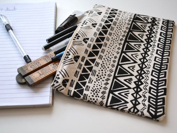 Aztec illustration screen printed pencil case  by Charlieandthefox