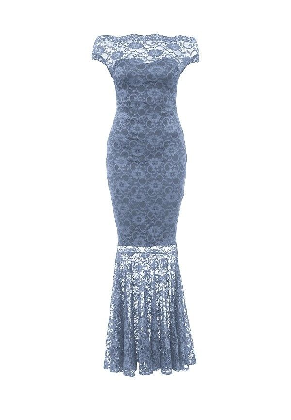 9f6eb8fac2cf Goddess lang blonde offshoulder kjole grå