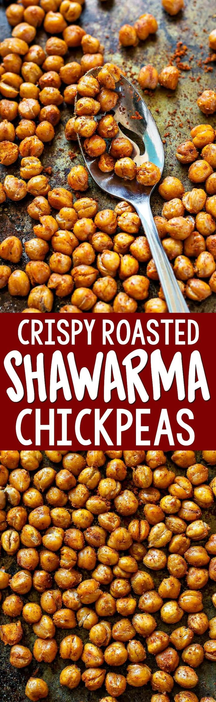 Transform an unsuspecting can of chickpeas into a crispity crunchity flavor bomb that's perfect for topping and for snacking! These crispy roasted shawarma chickpeas are addictively delicious!