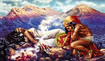 La leyenda de los volcanes (Iztaccíhuatl and Popocatépetl), by or closely imitating Jesús Helguera. 1940.