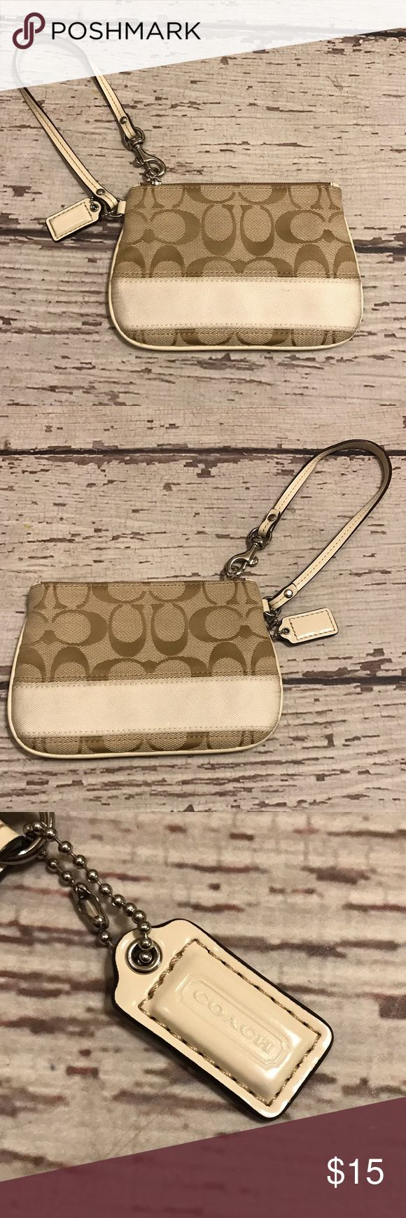 Tan Coach Wristlet Very lightly used Coach wristlet. Great condition. Tan lining. Coach Bags Clutches & Wristlets