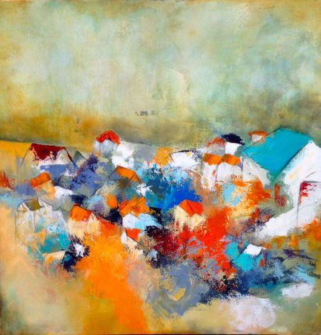 Pueblo Lindo - 80 x 80 cm mixed media on canvas by Thelma Zambrano