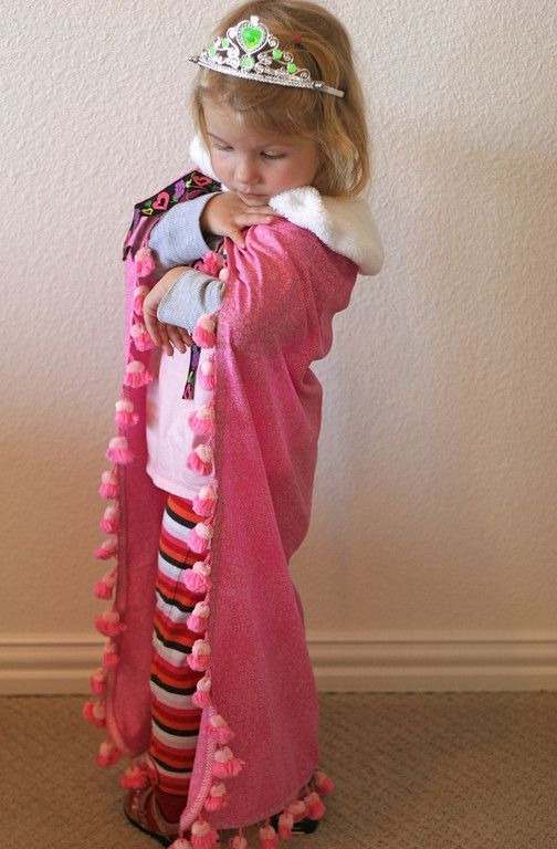 """Tutorial for """"A pink princess cape that she has worn nonstop since I finished it. It feels really good to make something that she loves so much. Even if it is heinous."""""""