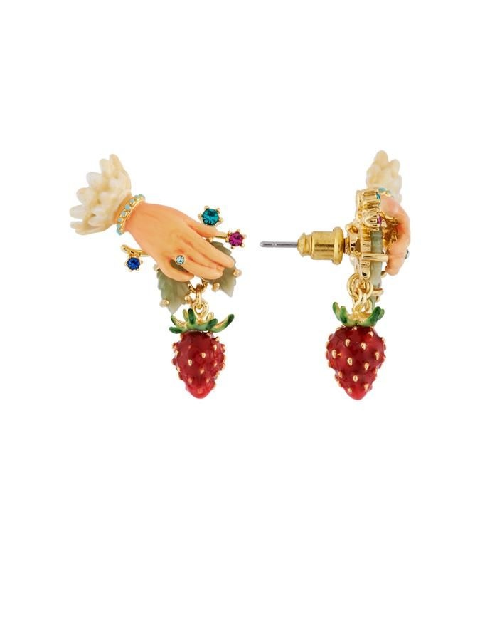 Royal Gardens Hand And Strawberry Earrings Les Néréides