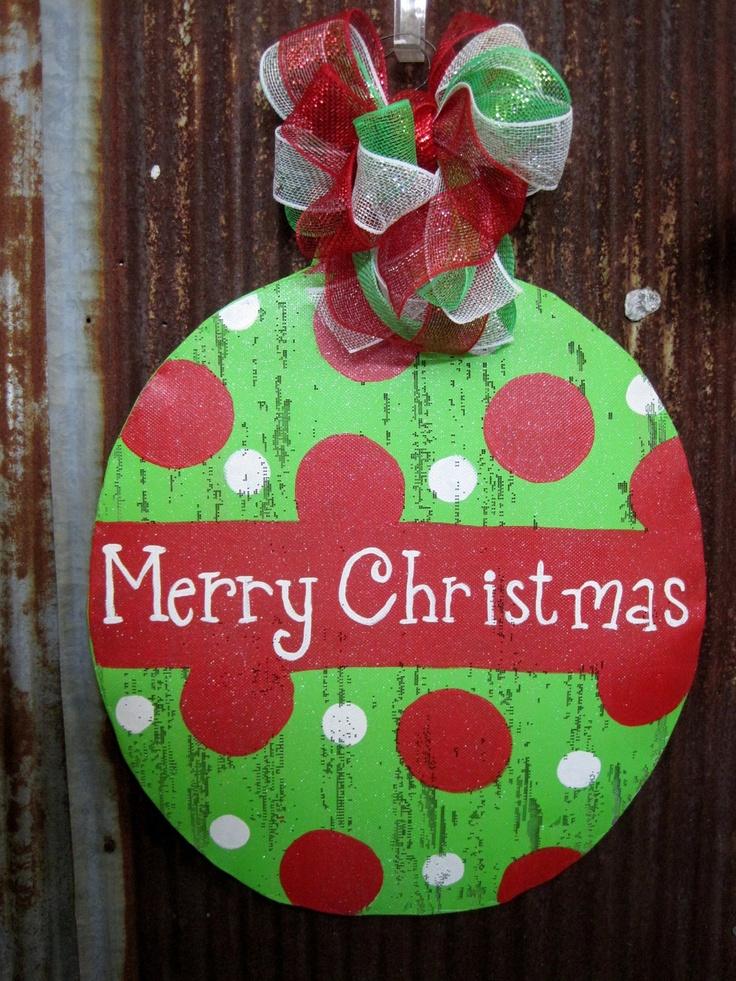 Merry Christmas Ornament Door Hanger By Wiredupbymellie On