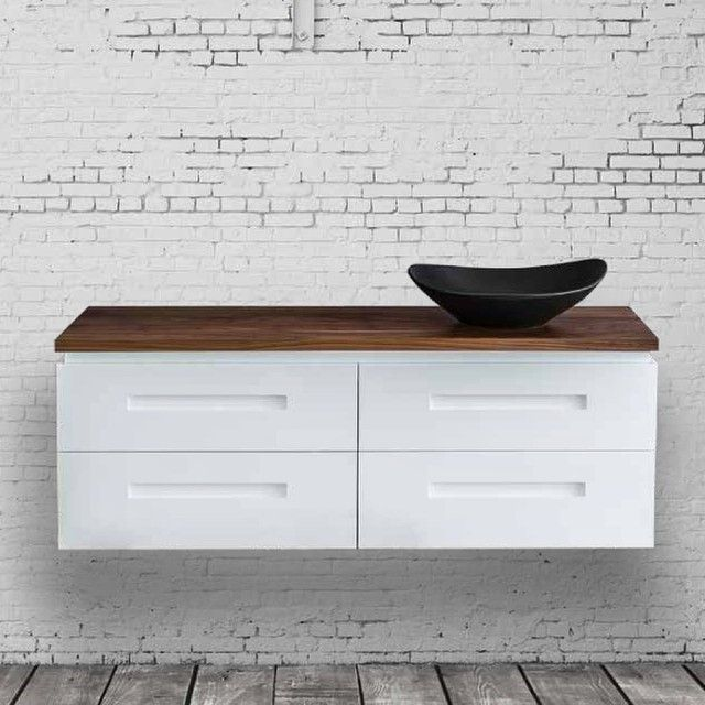 This African Walnut Timber Benchtop brings so much character to a simple white bathroom. One of the many Colours available in our new Timber Range. #bathroomdesign #vanity #timbervanity #bathroom #africanwalnut #designerbathroom